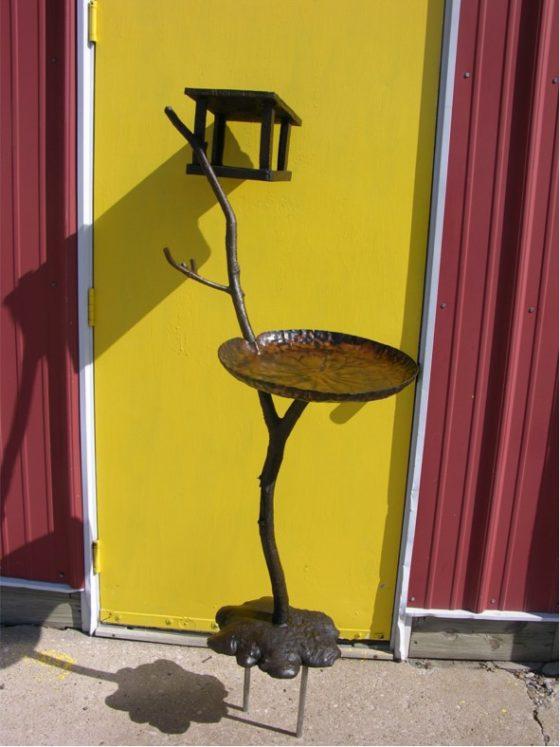 Bronze bird bath and feeder