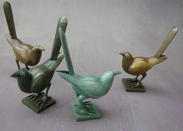 Bronze birds with assorted patinas, Steve Murray