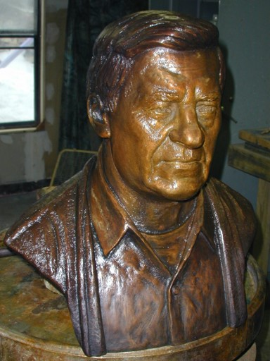 Commission Herbert Hoover maquette fleshed out clay, aluminum, commission, 2016