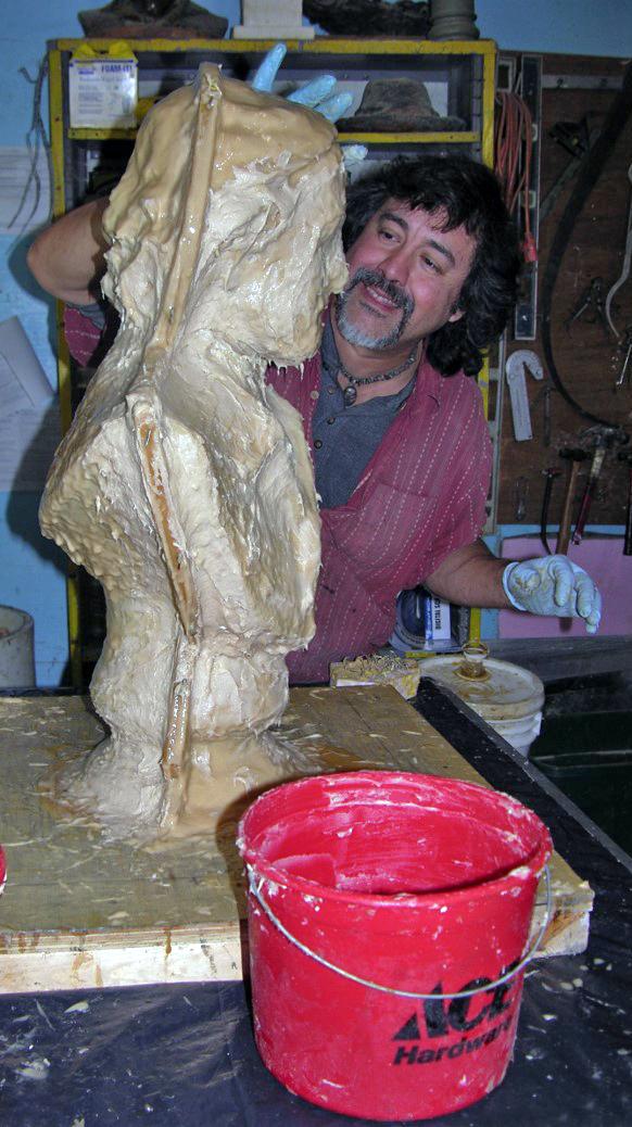 Making a rubber mold of an Edgar Allen Poe bust