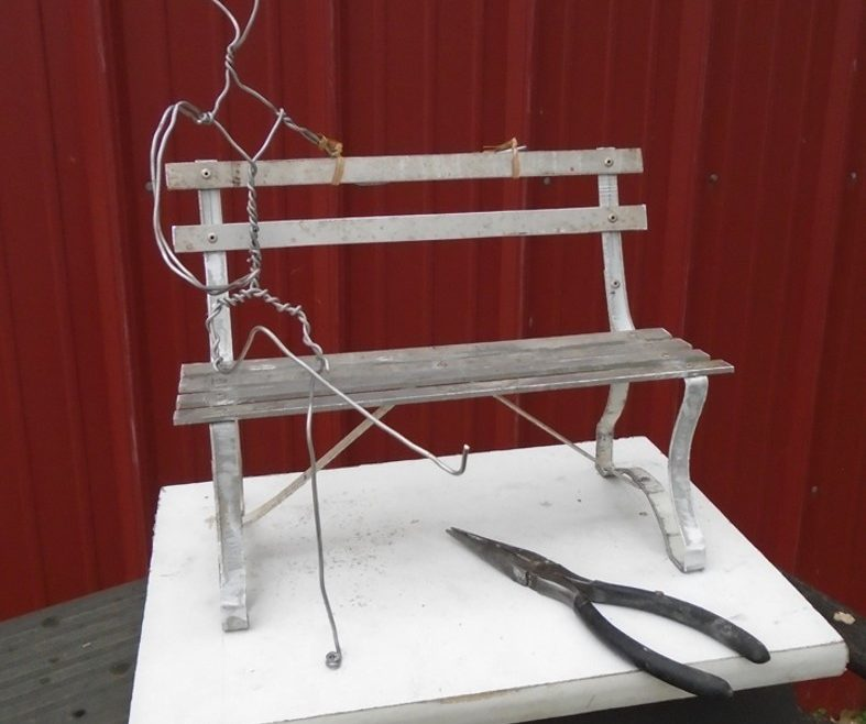 Commission armature for maquette Hoover on a park bench, aluminum, Stephen Maxon, 2016
