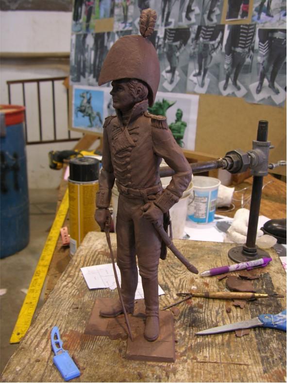 Commission Colonel Issac White, clay maquette, Stephen Maxon, 2015