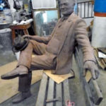 Commission Full size Hoover in clay on Bronze Bench, Stephen Maxon, Doris Park