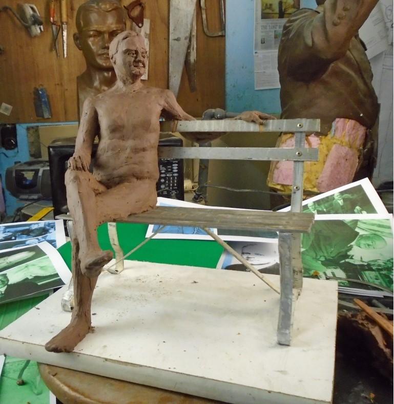 Commission, Full size Hoover in clauy on bronze bench, Stephen Maxon, Doris Park