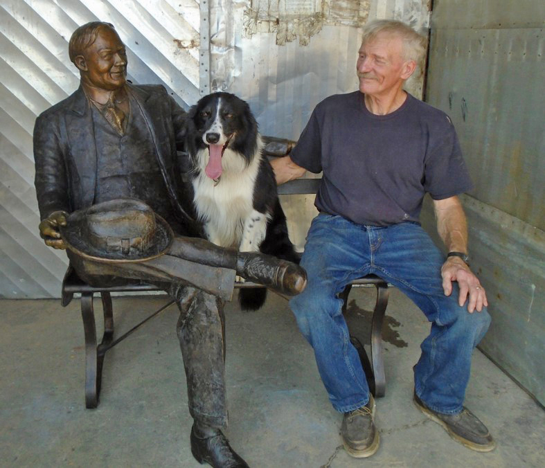 Commission Herbert Hoover and dog, Flash with Stephen Maxon enjotubg a smile