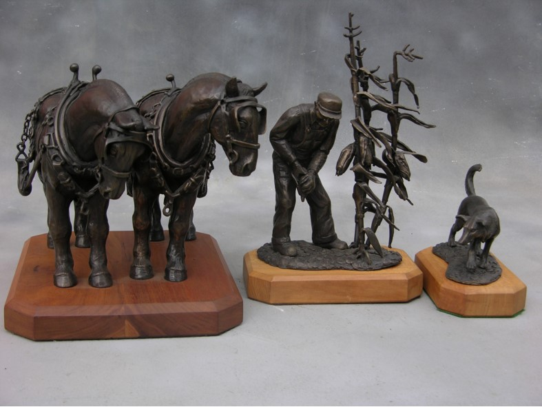 Commissions Bronze maquettes for Street Sculptures in DeWitt Iowa after John Bloom's WPA post office mural