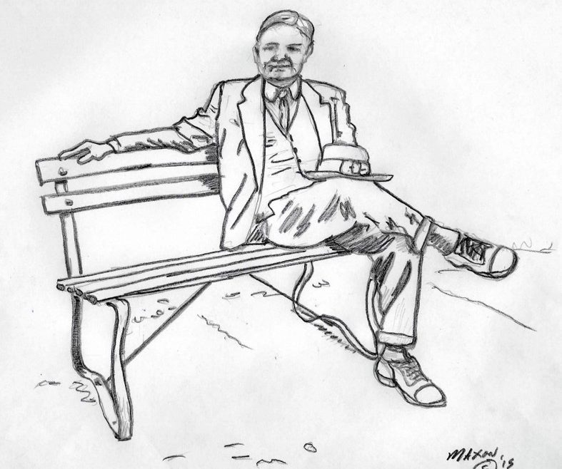 Commission, Preliminary drawing Hoover on a park bench, Stephen Maxon, 2015