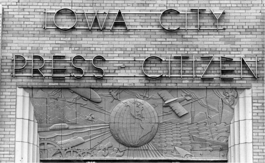 History of News Relief on the Old Press Citizen Building, Iowa, City, Iowa, Max-Cast